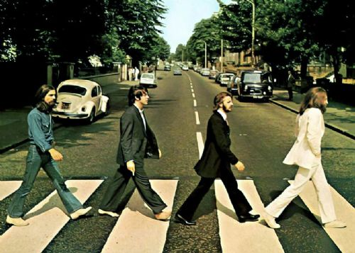THE BEATLES - ABBEY ROAD - Paint style canvas print - self adhesive poster - photo print